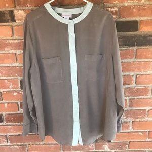 Soft Surroundings 100% silk button down blouse 2X
